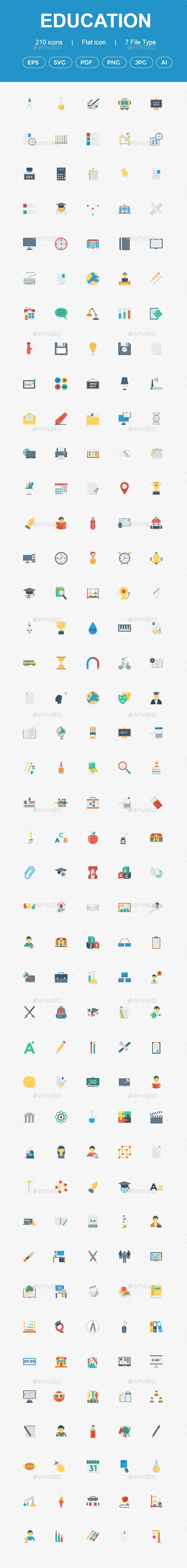 GraphicRiver 200 Education Flat icons 20831998