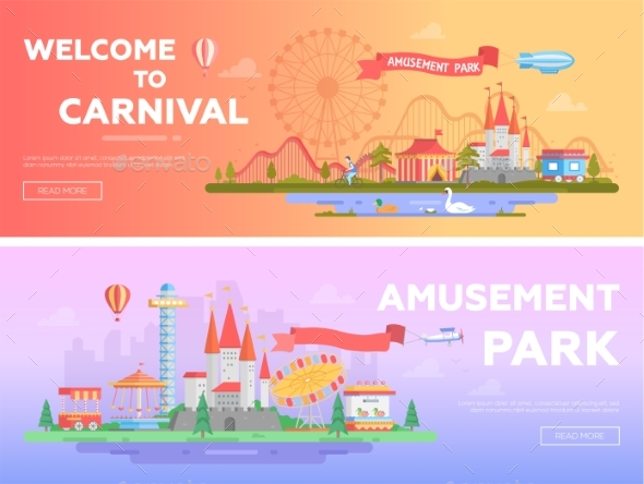 GraphicRiver Amusement Park Set of Modern Flat Vector 20832031