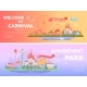 Amusement Park - Set of Modern Flat Vector