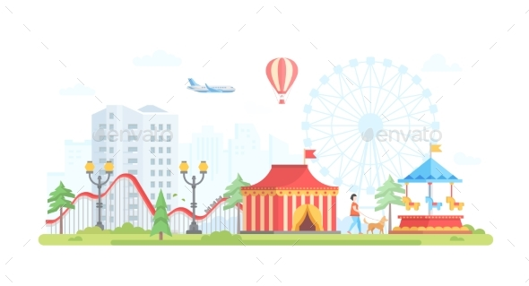 Cityscape with Attractions - Modern Flat Design - Web Elements Vectors