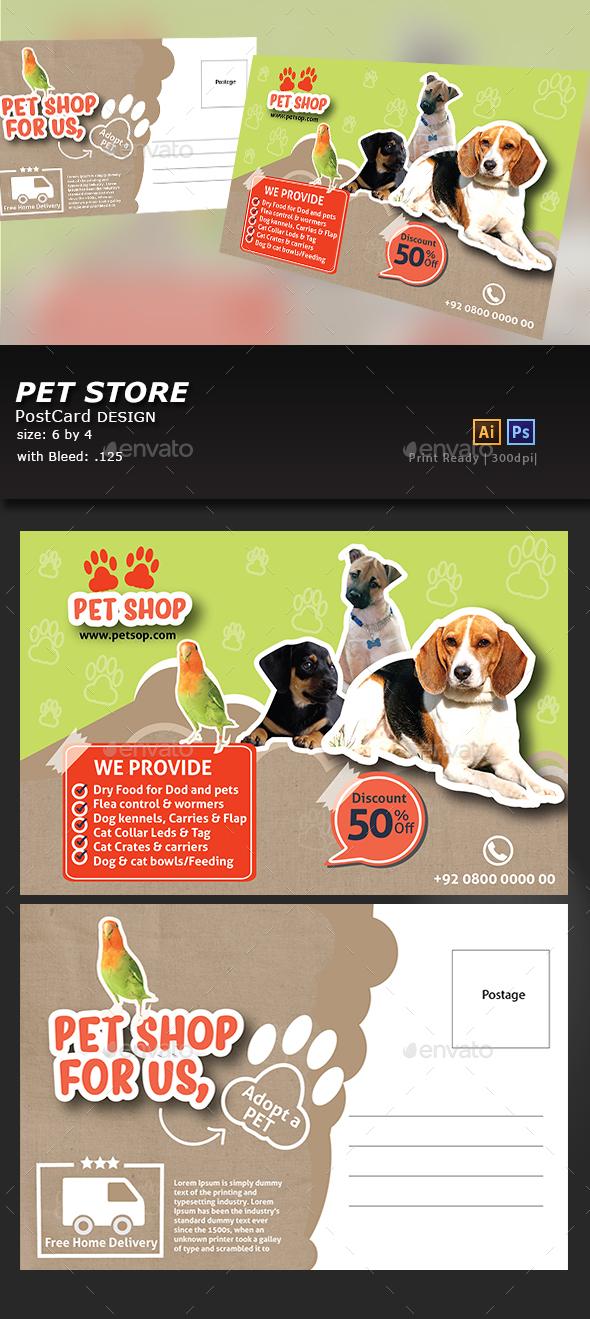 Pet Shop Postcard - Cards & Invites Print Templates