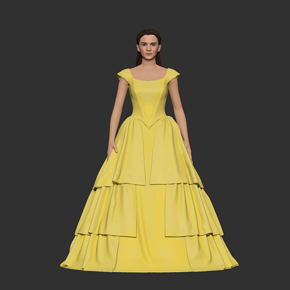 Girl Belle in yellow dress - 3DOcean Item for Sale