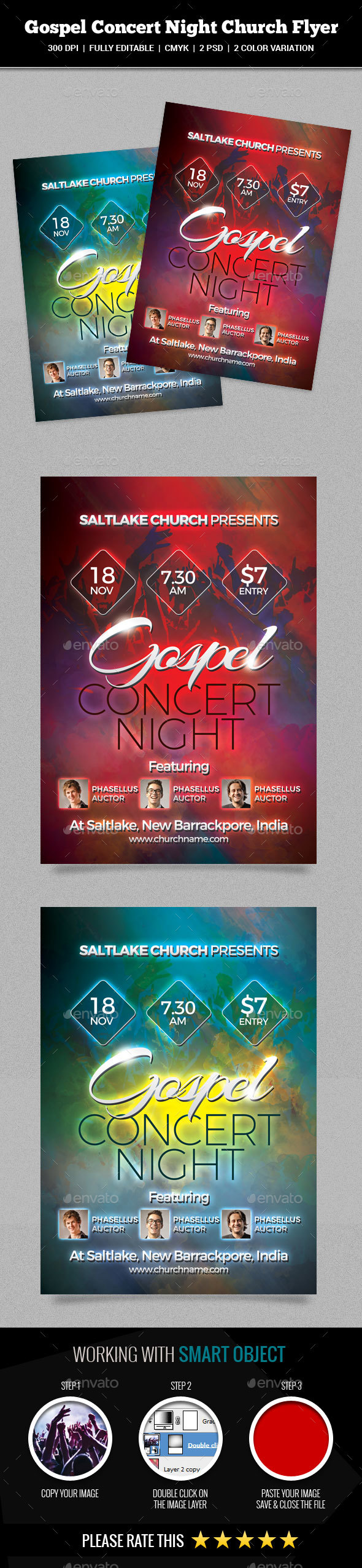 Gospel Concert Night Church Flyer - Church Flyers
