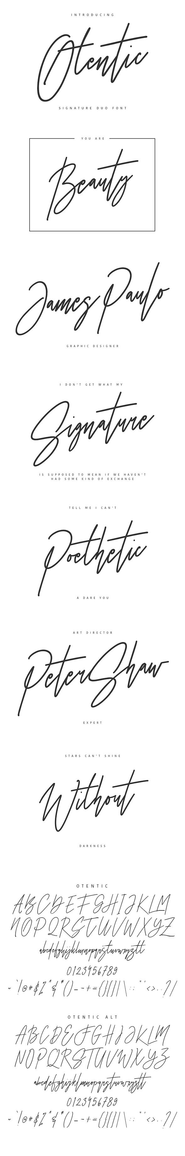 Otentic Signature Typeface - Calligraphy Script