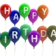 Happy birthday colorful balloons on white background. 3d illustration - PhotoDune Item for Sale