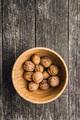 Tasty dried walnuts in bowl.