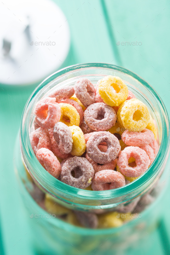 Colorful cereal rings. - Stock Photo - Images