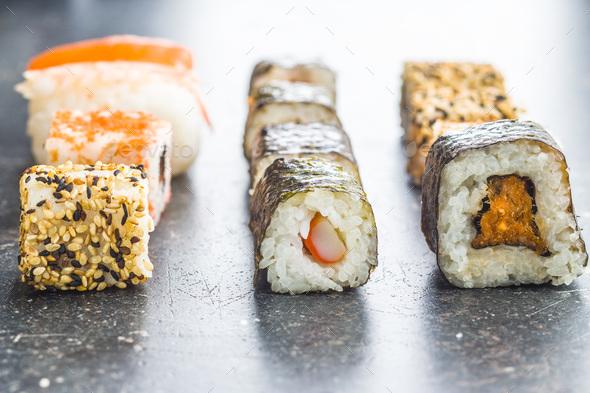 Japanese sushi rolls. - Stock Photo - Images