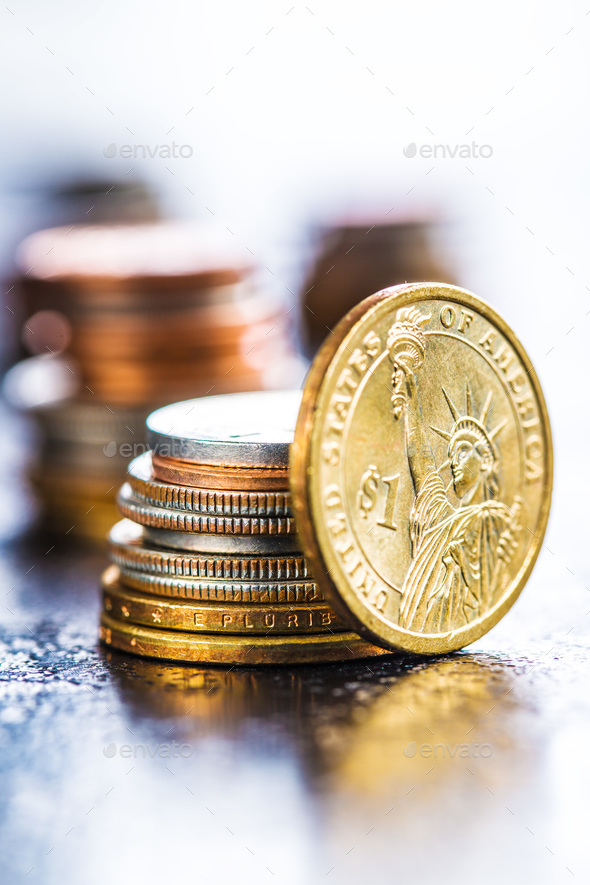 Pile of dollar coins. - Stock Photo - Images