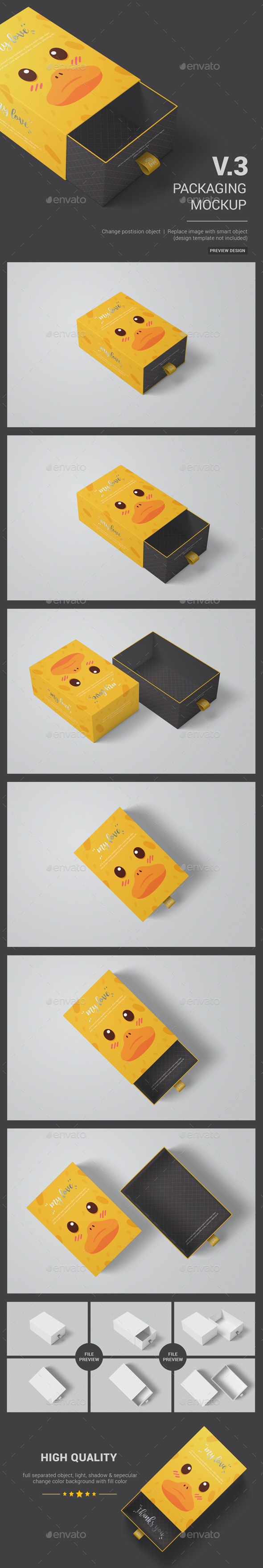 Sliding Box Packaging / Package Mockup 03