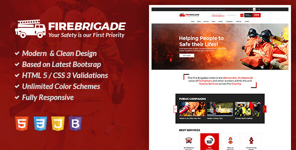 Image of Fire Brigade - Fire Fighting & Rescue Services HTML Site Template
