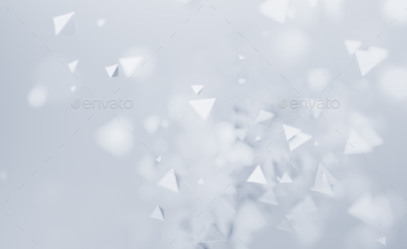 Abstract 3D Rendering of Flying Polygonal Shapes - Abstract 3D Renders