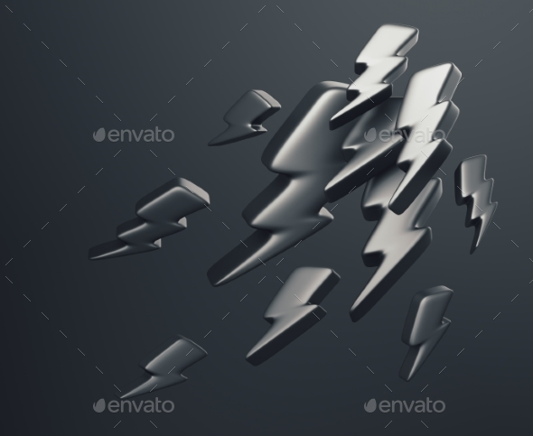 Illustration of Lightning Symbols. 3D Rendering - Abstract 3D Renders