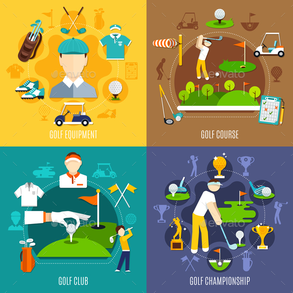 GraphicRiver Golf Game Flat Design Concept 20832917