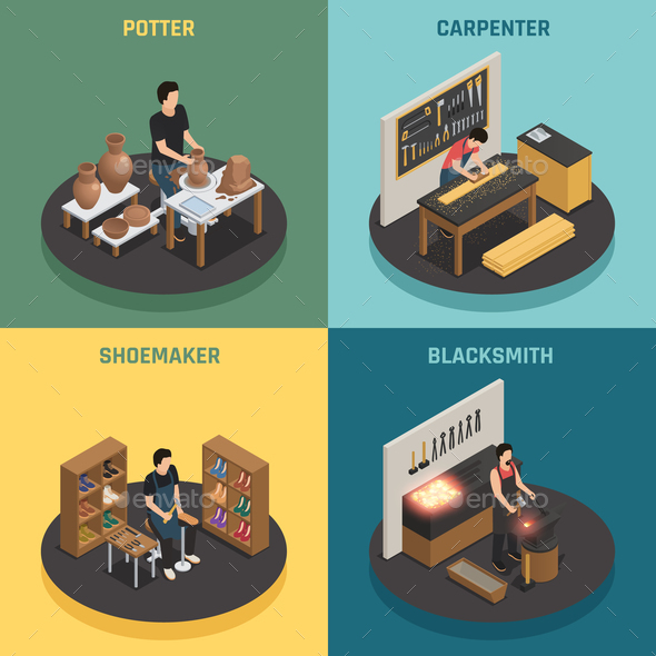 GraphicRiver Craftsman Professions 2x2 Design Concept 20832926
