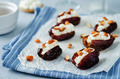 Almond and goat cheese stuffed dates