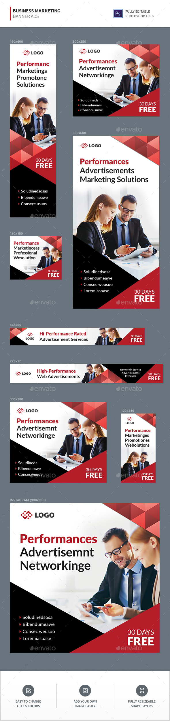 Business Marketing Banners - Banners & Ads Web Elements