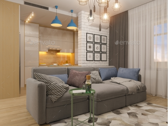 3d Illustration Living Room and Kitchen Interior - Miscellaneous Illustrations