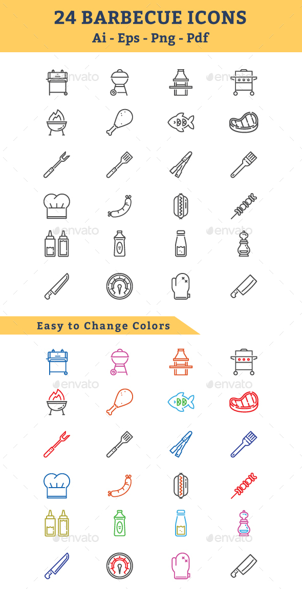GraphicRiver BBQ Barbecue Icons 20833460