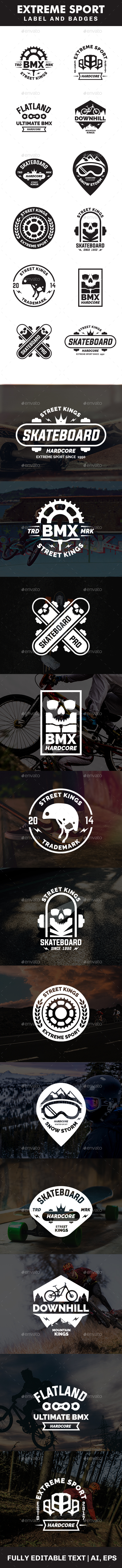 Extreme Sport Label and Badges - Badges & Stickers Web Elements