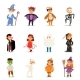 Kids Wearing Halloween Party Costumes Vector. - GraphicRiver Item for Sale