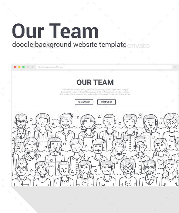 GraphicRiver Our Team Doodle Background Template 20822897