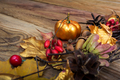 Thanksgiving background with golden pumpkin and maple leaves - PhotoDune Item for Sale