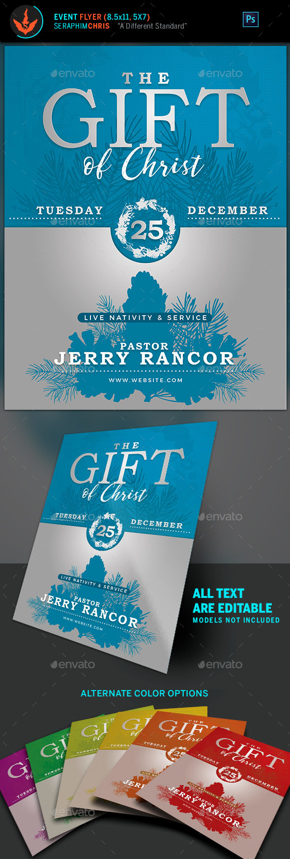The Gift of Christ Christmas Flyer Template - Holidays Events