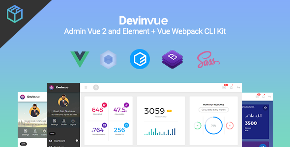 Devinvue - Admin Vue 2 and Element + Vue Webpack CLI Kit - Admin Templates Site Templates