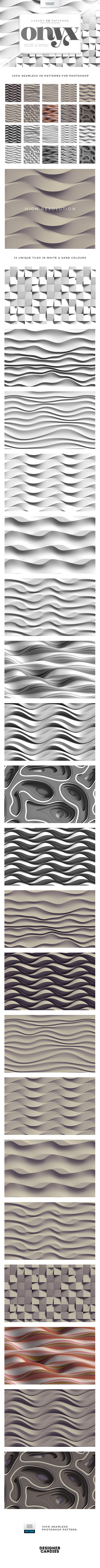 ONYX - 3D Patterns for Adobe Photoshop - Abstract Textures / Fills / Patterns