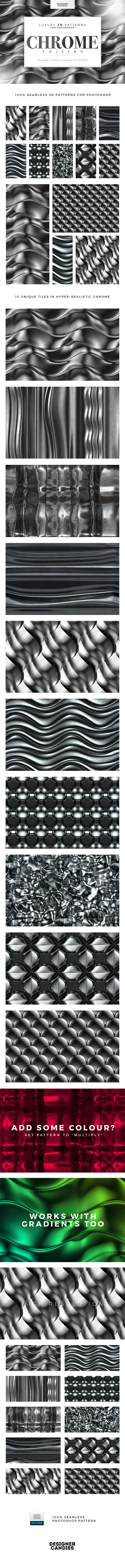 GraphicRiver 3D Chrome Patterns for Photoshop 20834455