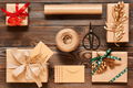 Christmas presents on wooden background - PhotoDune Item for Sale
