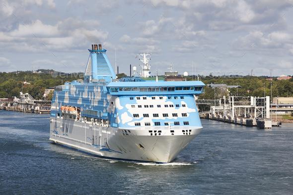 Cruise vessel on the baltic sea. Aland island harbor. Travel - Stock Photo - Images