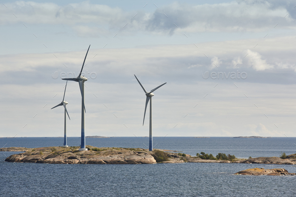Wind turbines in the baltic sea. Renewable energy. Finland seascape - Stock Photo - Images