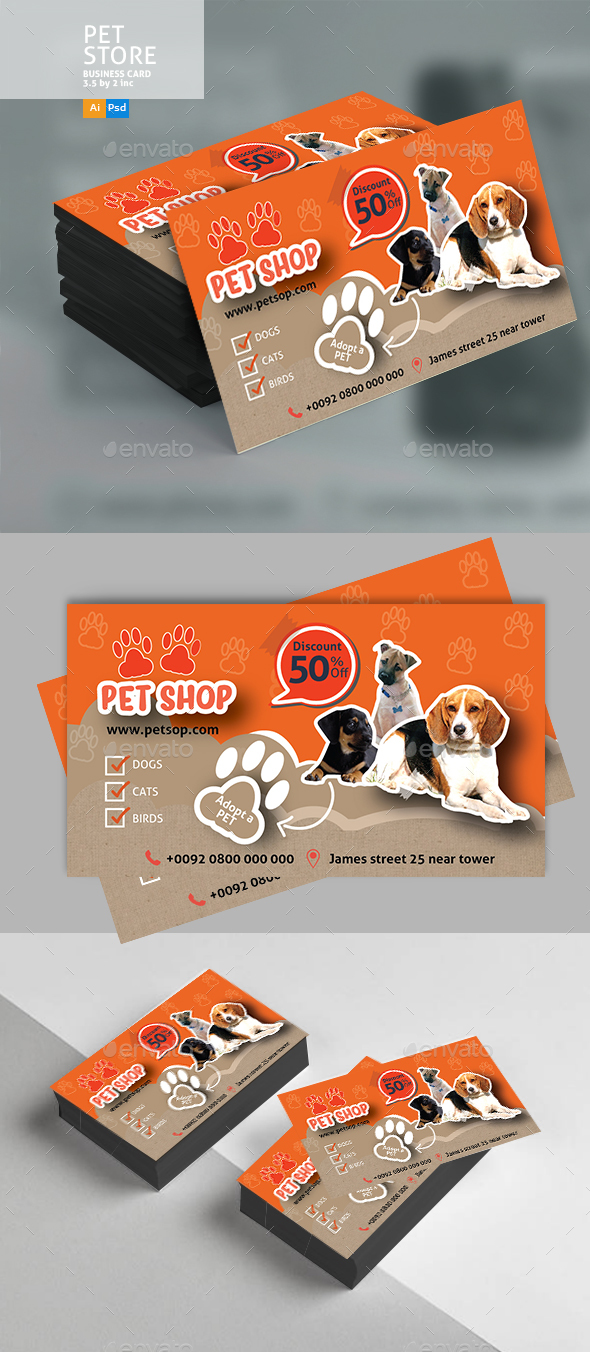 Pet Shop Business Card by Designcrew | GraphicRiver
