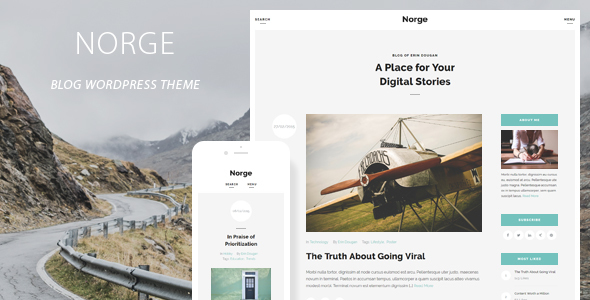 Norge - Responsive Blog WordPress Theme - Personal Blog / Magazine
