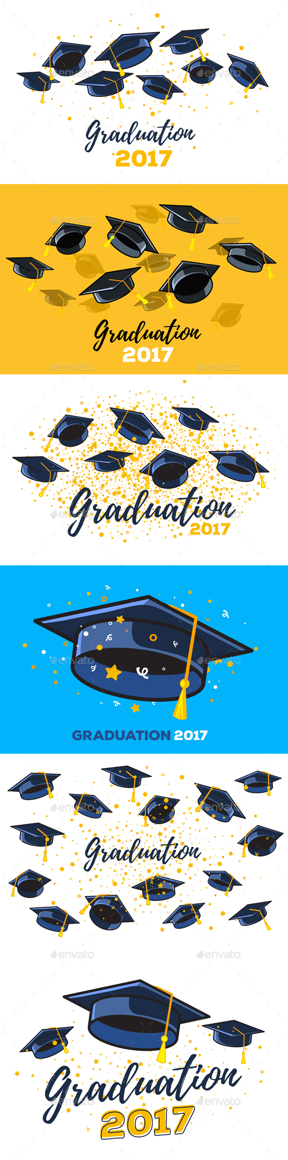 GraphicRiver Vector Set of Illustrations with Graduate Caps 20834815