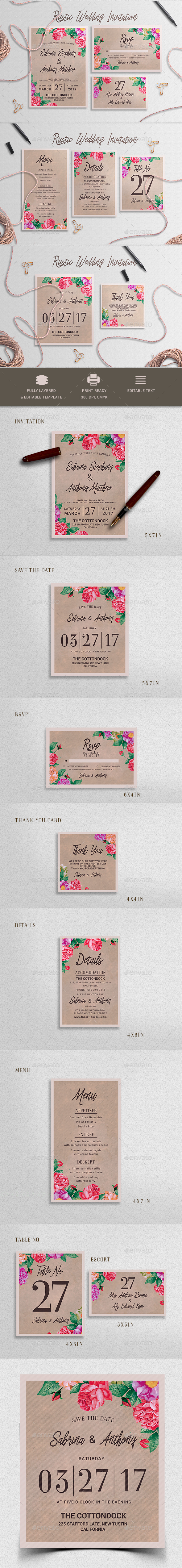 Rustic Wedding Invitation Set - Weddings Cards & Invites