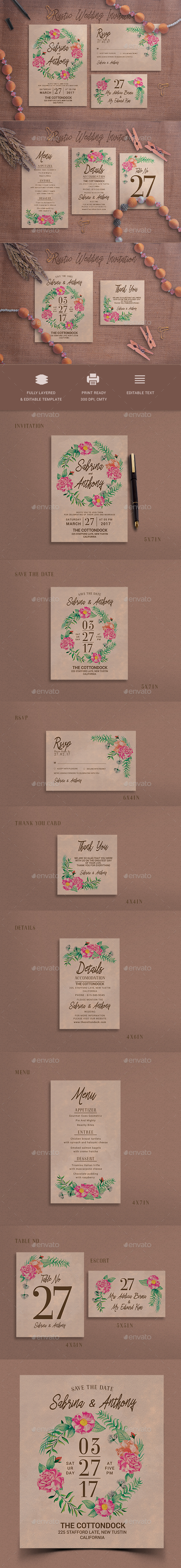 Rustic Wedding Invitation - Weddings Cards & Invites