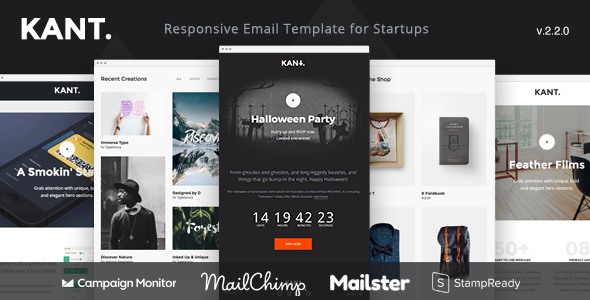 Kant - Responsive Email for Startups with 50+ Sections + StampReady Builder + MailChimp + Mailster - Email Templates Marketing