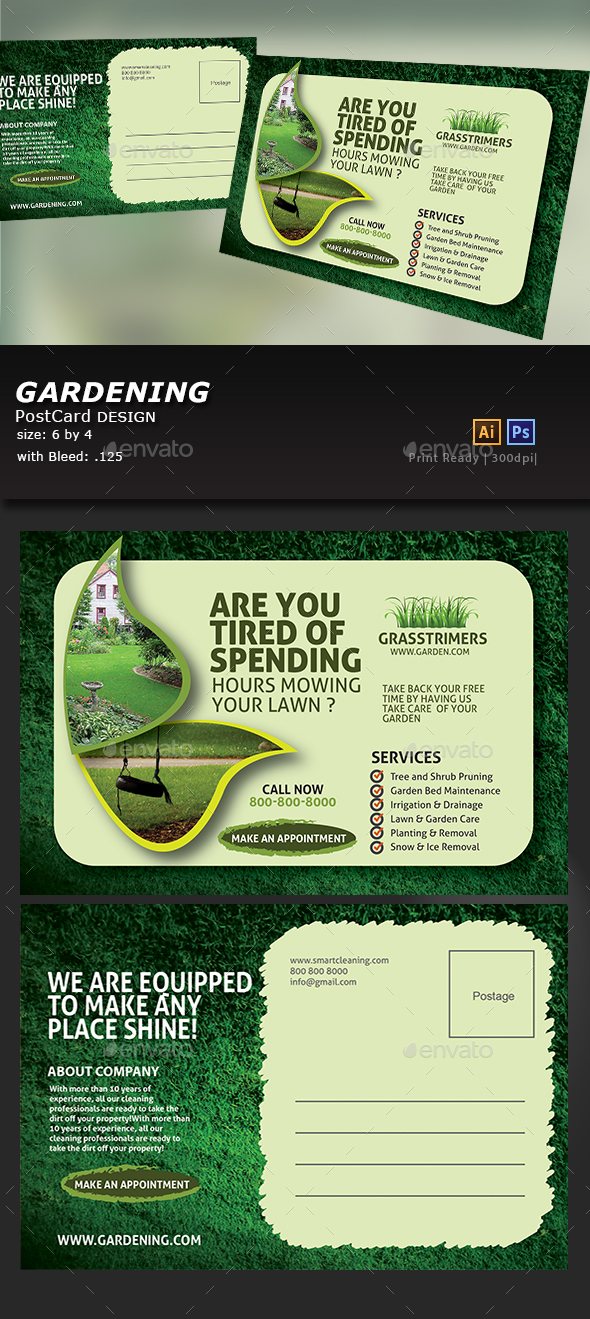 GraphicRiver Lawn Care Postcard 20835098