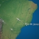 Route of Commercial Airplane Flying From Rio De Janeiro To San Francisco on the Earth Globe