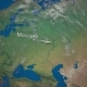 Route of Commercial Airplane Flying From Moscow To Beijing the Earth Globe