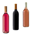 Red, rose and white wine bottles on white