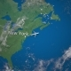 Route of Commercial Airplane Flying From New York To Paris on the Earth Globe