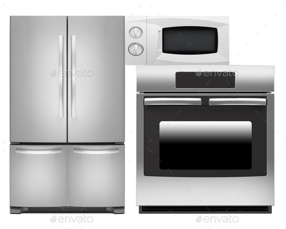 Refrigerator, oven and microwave oven - Stock Photo - Images