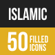 Islamic Filled Low Poly B/G Icons - GraphicRiver Item for Sale