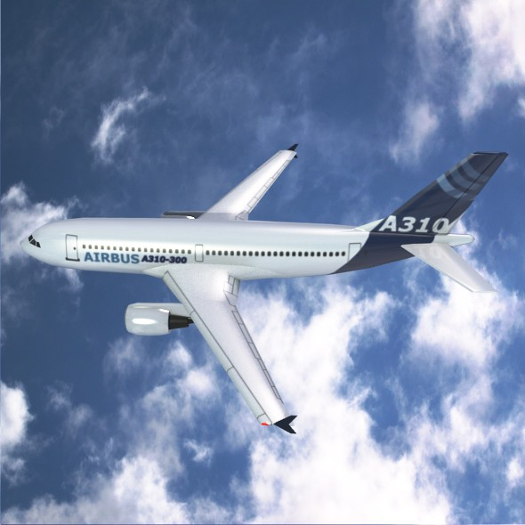 Airbus A310-300 lowpoly commercial jet