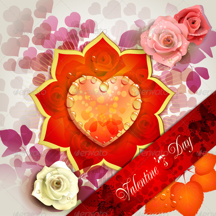 Valentine's Day Card with Hearts and Roses  - Valentines Seasons/Holidays