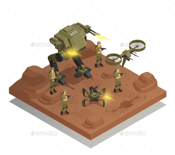 GraphicRiver Fighting Robots Isometric Composition 20835446